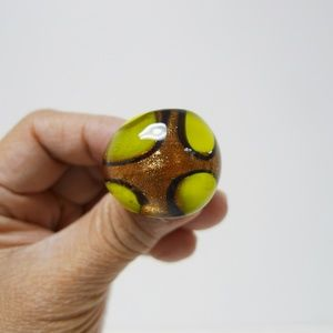 Tri-color Murano glass chunky statement ring
